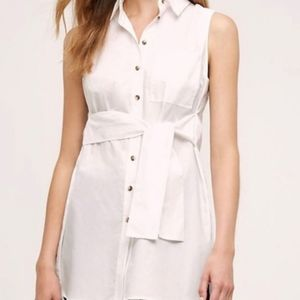 Maeve Paseo White Button Tunic Tie Waist Blouse